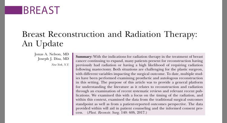 #BreastReconstruction and #Radiation Therapy: An Update. Procedure type and timing can significantly impact risk of complications  http:// bit.ly/2ilqjki  &nbsp;   #BreastCancer #BCPEA @prsjournal<br>http://pic.twitter.com/kZ2VsweVLC