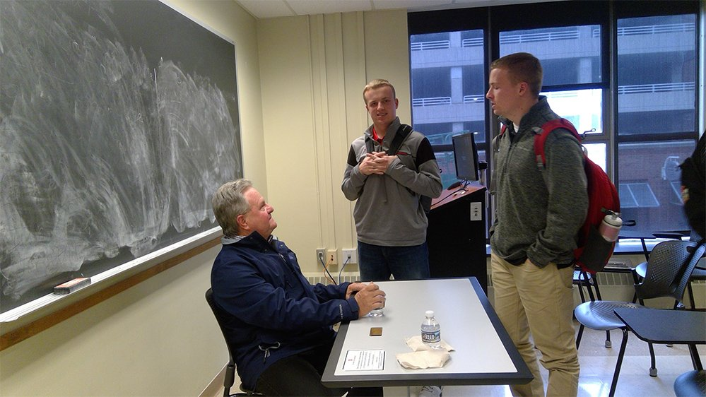 We keep getting spoiled with guest speakers. Ken Schnacke, President and General Manager of the @CLBClippers dropped in to give us some insight into his experiences.  #inspiringexcellence <br>http://pic.twitter.com/EZBO3LPcpy