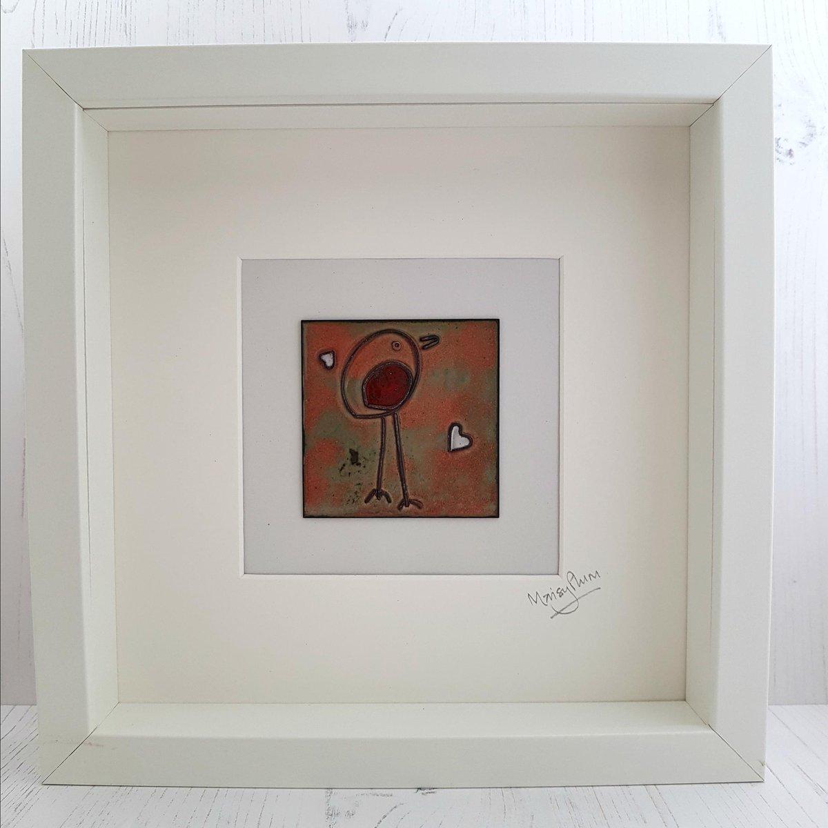 Enamel &#39;Little Robin&#39; Copper Tile Art  http:// tuppu.net/ff809b07  &nbsp;   #87RT #tweeturbiz #MixedMediaArt <br>http://pic.twitter.com/CCcOynwa8g