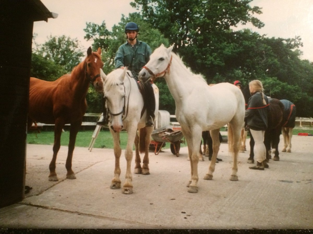 Came across this today. Me on Killy with Cumulus and Duke @WellgroveFarm in the early 1990s. Just about to ride up to the fields at Kippings Cross, along the A21!  #TBT #GoodOldDays  #YouCouldntDoItNow<br>http://pic.twitter.com/NLy6VOVwn1