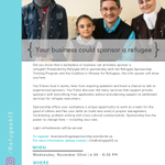 Did you know that a workplace or business can sponsor a refugee family? Join us on Nov 22nd @HubOttawa to learn more about the opportunity to privately sponsor a refugee family and flex your teamwork & problem-solving skills! #commUNITY #Ottawa