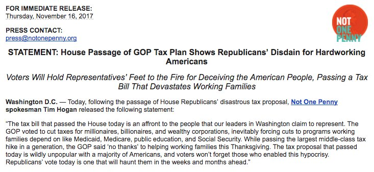 Tax March On Twitter Statement House Passage Of Gop Tax Plan
