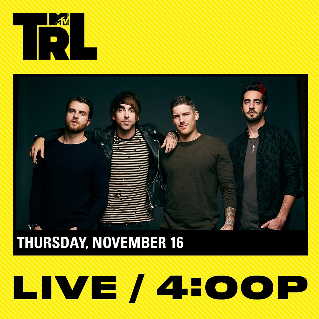 Tune in today to catch @AllTimeLow live on TRL at 4pm on @MTV! https://t.co/htbYezBCFD