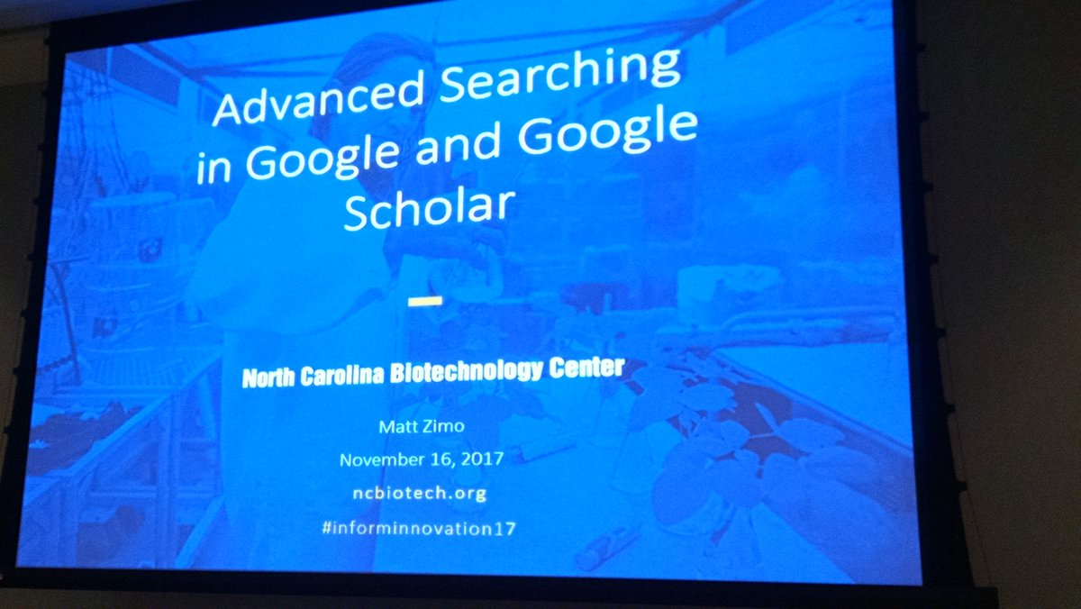 Tips &amp; Tricks for Google and #googlescholar with Matt Zimo at @ncbiotech #informinnovation<br>http://pic.twitter.com/a666YzEJ7W