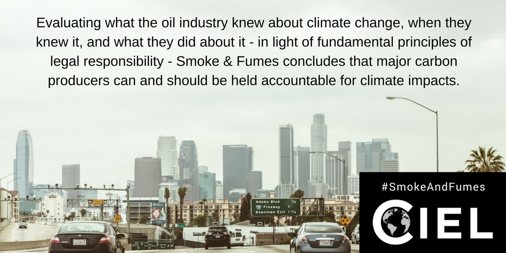 Are #fossilfuel co&#39;s legally responsible for #climatechange disasters? Our report explains. #SmokeandFumes  http://www. ciel.org/smokeandfumes  &nbsp;   #ExxonKnew <br>http://pic.twitter.com/QK7AmxB4OH