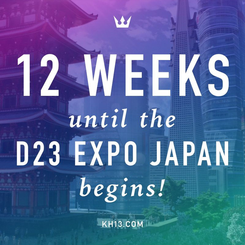 12 weeks left until the D23 Expo in Japan! When do you think well see gameplay or cutscenes of San Fransokyo in the Big Hero 6 world? #KingdomHearts #D23Expo  http:// kh13.com  &nbsp;  <br>http://pic.twitter.com/NB6UJgXG0h