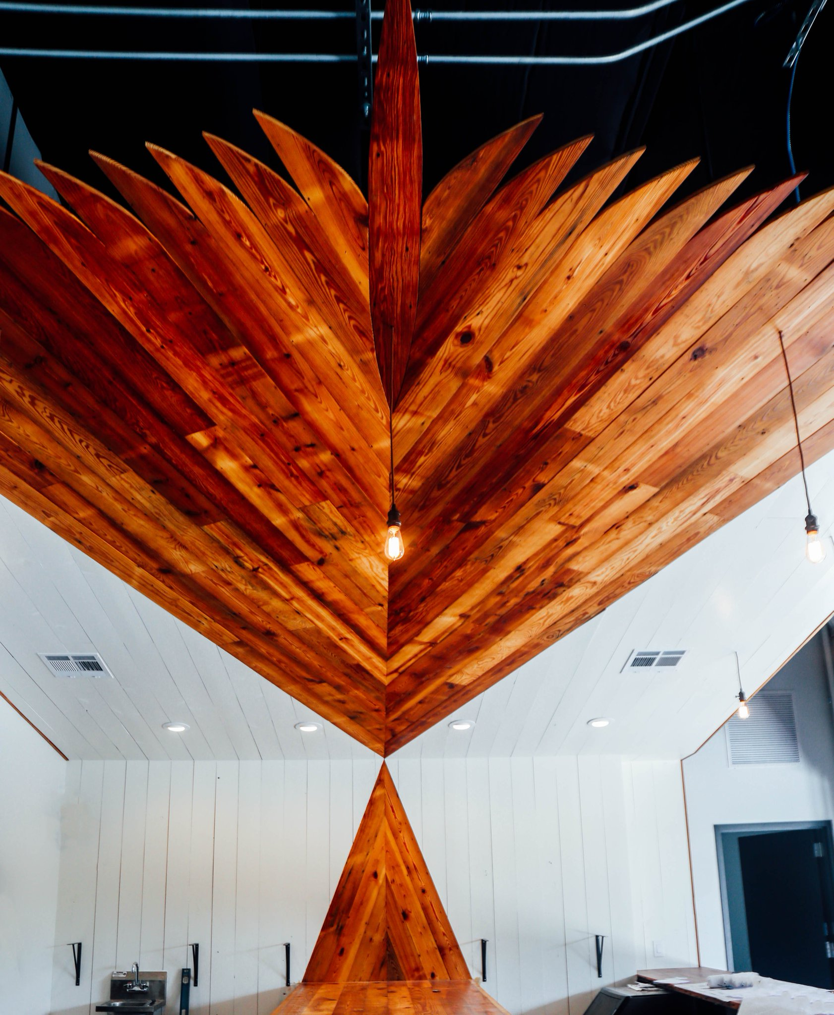 detailed wood accents inside the Family Business Beer Company