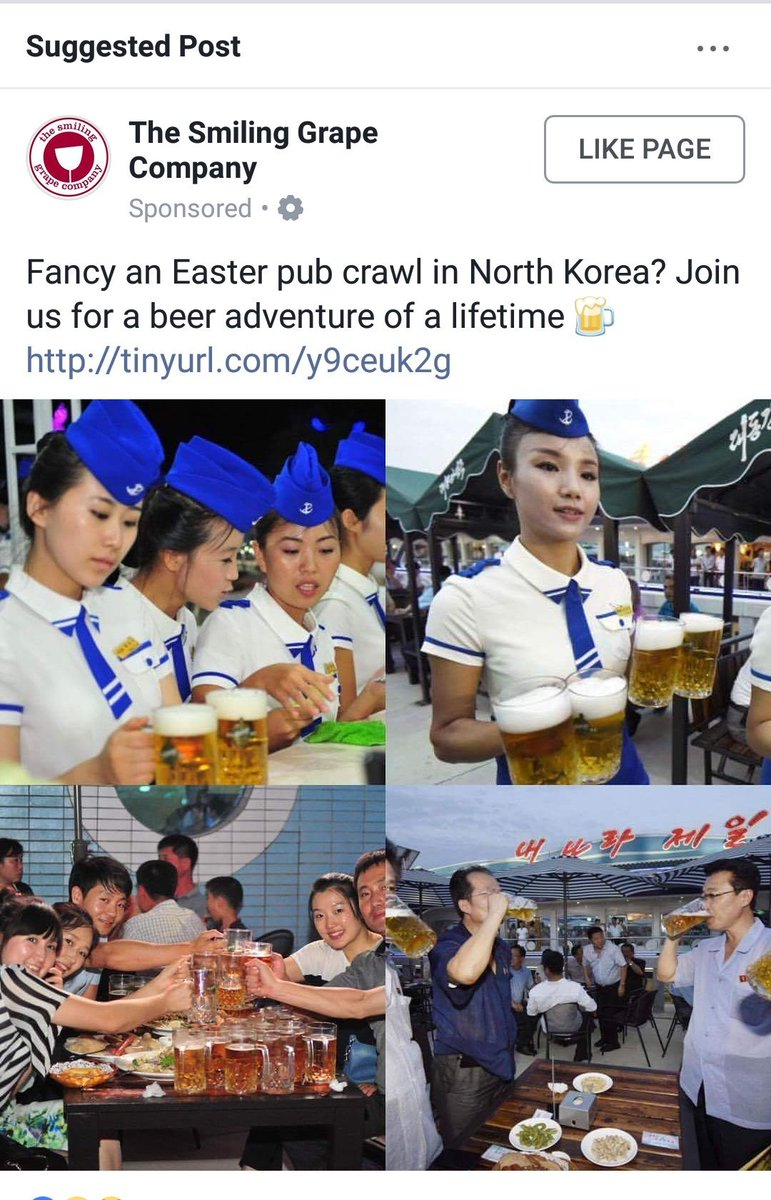 Me: I'm worried about how much data FB has about me Also me: FB thinks I want to do a pub crawl in North Korea