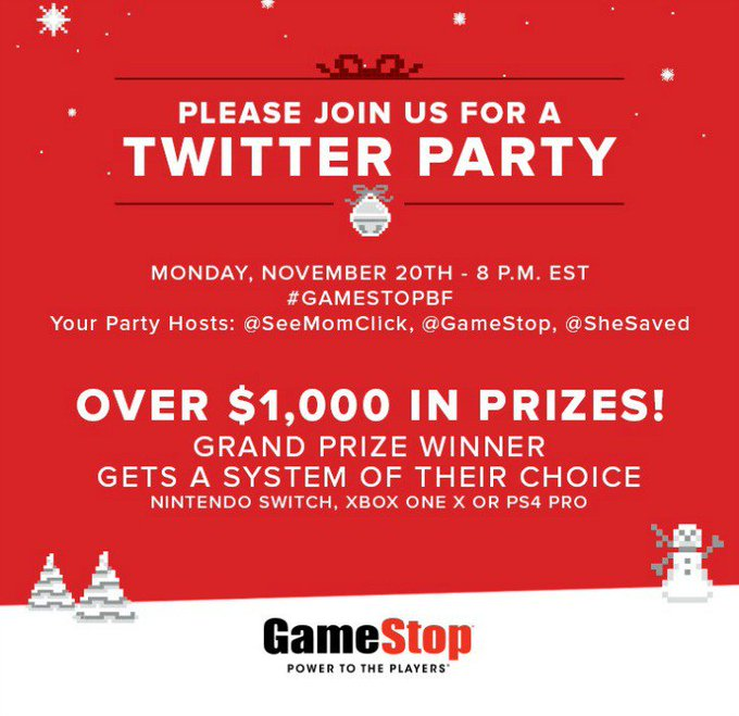 Join the #GameStopBF #TwitterParty! Over $1000 in prizes on 11/20 at 8pm: RSVP ://