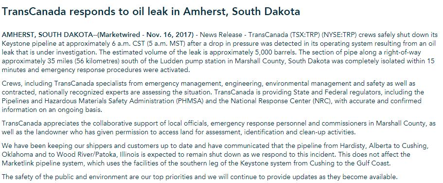 NEW: @TransCanada says they have shut down part of the Keystone pipeline after it leaked approximately 210,000 gallons of oil in the Amherst, South Dakota area