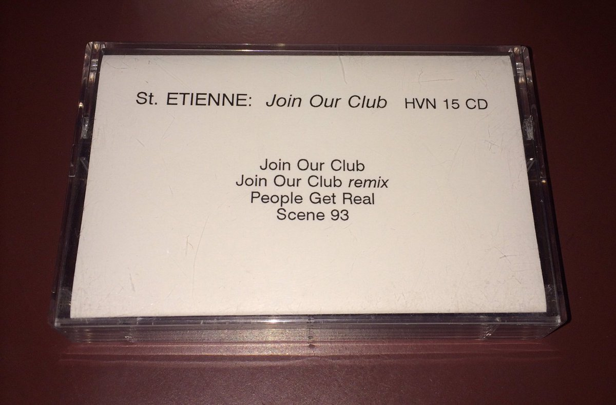 Picked up this cassette Promo (?) for Saint Etienne&#39;s Join Our Club CD single from 1992. Not seen one before, look good put together with some others...@bobpetesarah #saintetienne <br>http://pic.twitter.com/V7EBxMyzd4