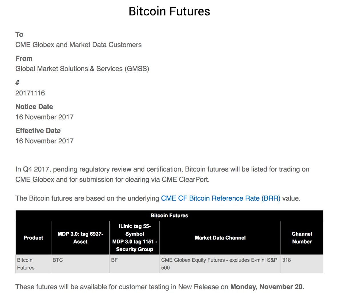 The professor on twitter cme just published that futures will the professor on twitter cme just published that futures will be available for testing on november 20th get ready for institutional money biocorpaavc Choice Image