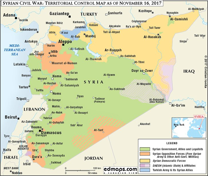 #Syria civil #war: territorial control #map as of November 16, 2017 compared to the map of the end of November 2015 #Assad #Putin #Trump #SAA #FSA #SDF #Kurds #ISIS #IslamicState #DAESH  https://www. edmaps.com/html/syrian_ci vil_war_in_maps.html &nbsp; … <br>http://pic.twitter.com/8IO5Ka56lz