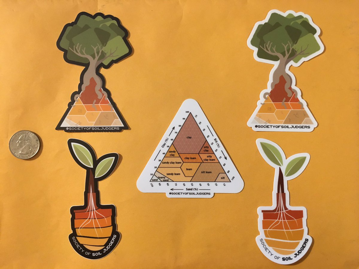 Stickers are in!!! Each sticker is $2 USD + shipping.   For each sticker sold, $1 goes towards a future scholarship for new #soil judging teams. The other $1 goes towards costs of stickers, design fees, and website fees (under construction). Message if interested! #soiljudging<br>http://pic.twitter.com/PmCAUe73bD
