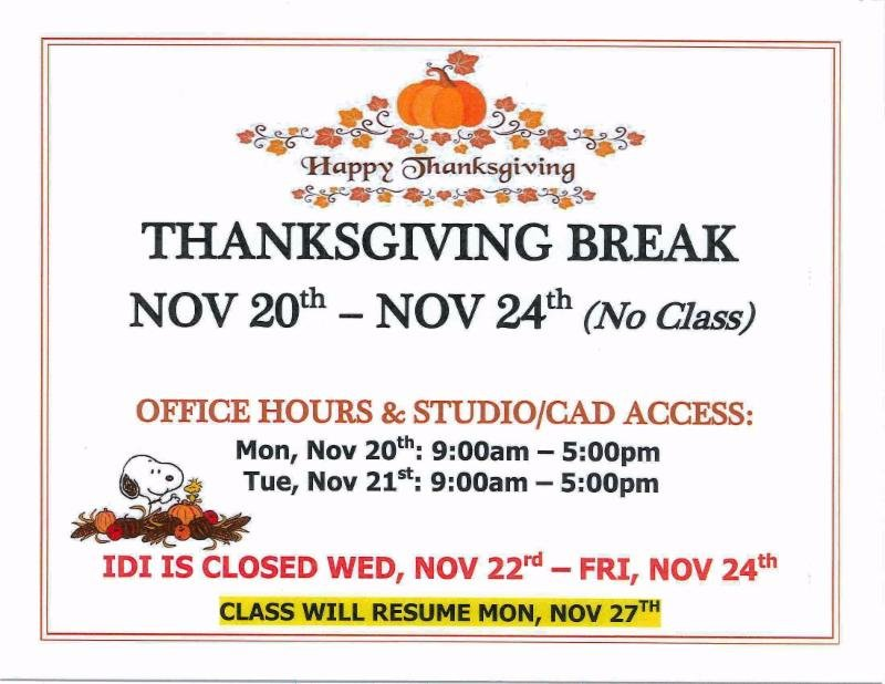 Happy Thanksgiving To You From Your Friends At Interior Designers Institute.  Please Note Our Adjusted Hours Listed Below.pic.twitter.com/ZM2LhQfQGO