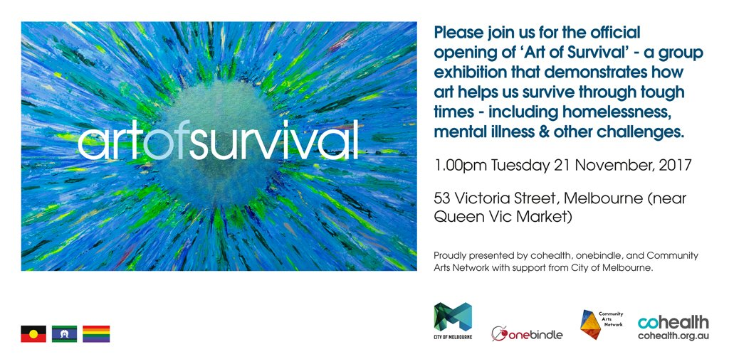 Join us for an exhibition of works that shows us how art can help us through tough times. The Art of Survival Exhibition kicks off on 21 Nov in Melb CBD. 85% of proceeds of sale of art goes to the artist. More info at:  http:// bit.ly/2hyyjgU  &nbsp;   #ArtofSurvival #CommunityHealth #SDoH<br>http://pic.twitter.com/ES1itPdZor
