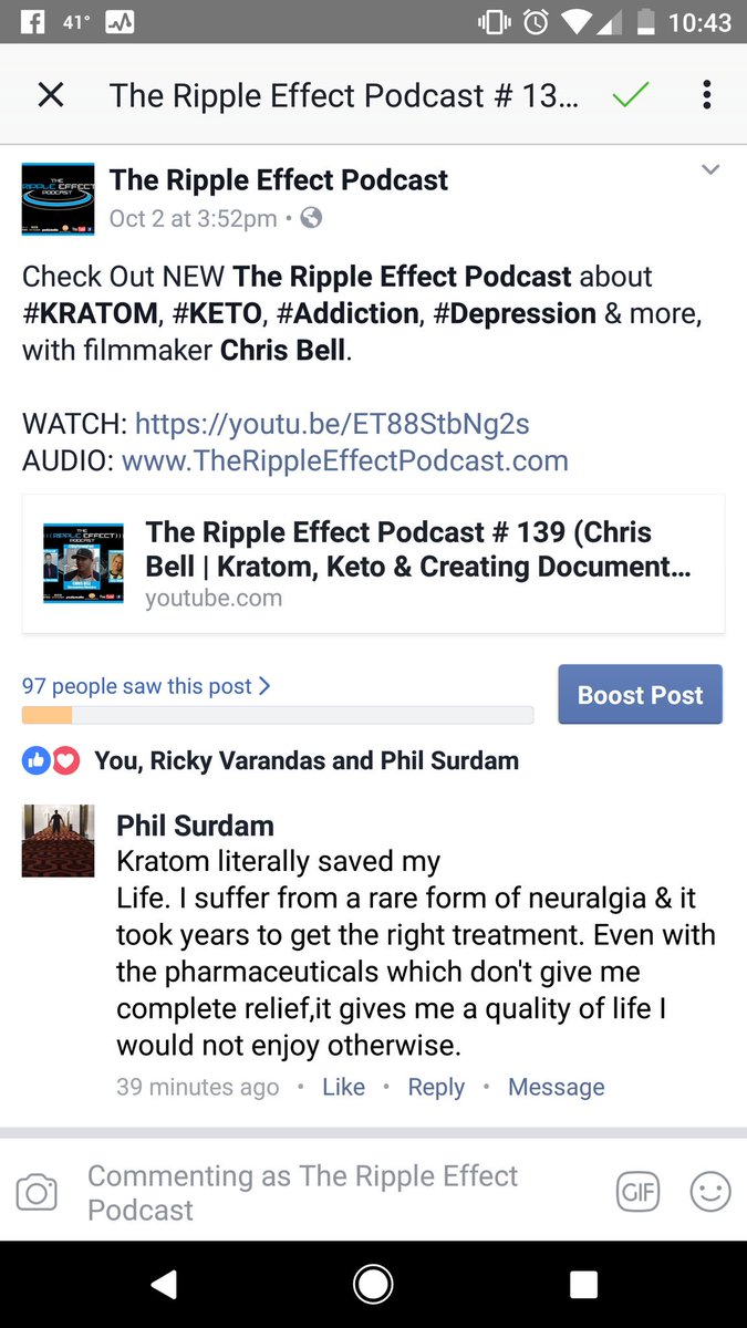 I get stories like these often. #Kratom has improved &amp; saved lives. I have no doubt #BigPharma &amp; the corrupt #FDA have something to do with all the recent stories about Kratom being dangerous.  #TheRippleEffectPodcast VIDEO:  http://www. YouTube.com/RvTheory6  &nbsp;   AUDIO:  http://www. TheRippleEffectPodcast.com  &nbsp;  <br>http://pic.twitter.com/t76Saduc8s