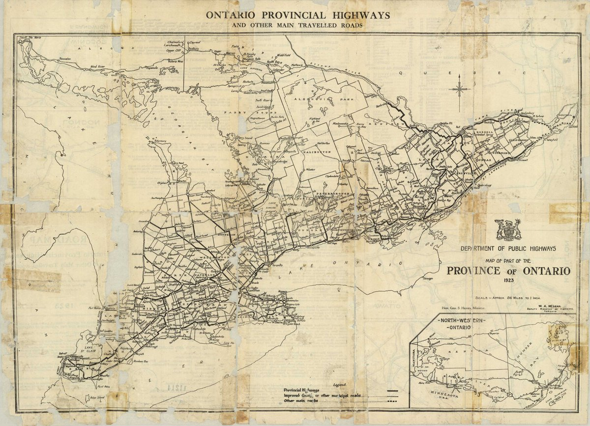 MTO on Twitter First official Road Map of Ontario 1923 Ontario