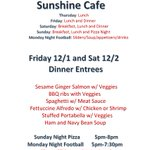 Sunshine Cafe Menu #GlenEdenSunClub Check out the entree specials!