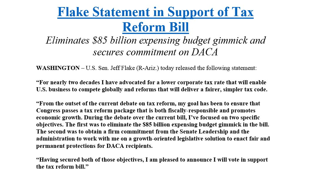 I will support #TaxReform bill after securing language to eliminate an $85 billion budget gimmick as well as commitment from the administration &  lea#Senatedership to advance growth-oriented legislative solution to enact fair & permanent protections for  recipie#DACAnts
