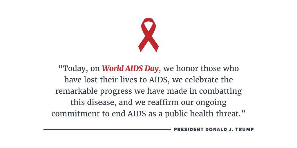 President Trump proclaims today as #WorldAIDSDay: https://t.co/AMqW8mWiak https://t.co/XGp8EelNzz