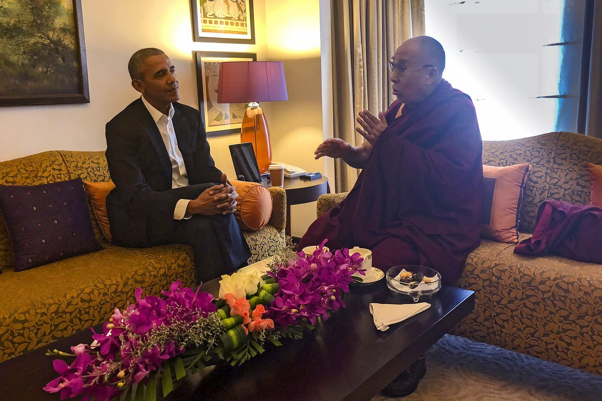 His Holiness the Dalai Lama meeting with former US President Barack Obama in New Delhi, India on December 1, 2017. (Photo by Tenzin Taklha)
