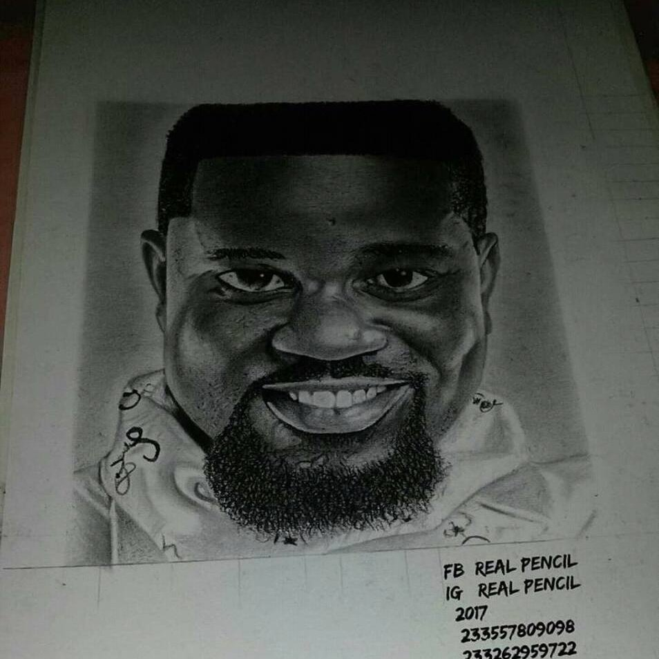 Sarkodie picture in outline drawing pencil sketch