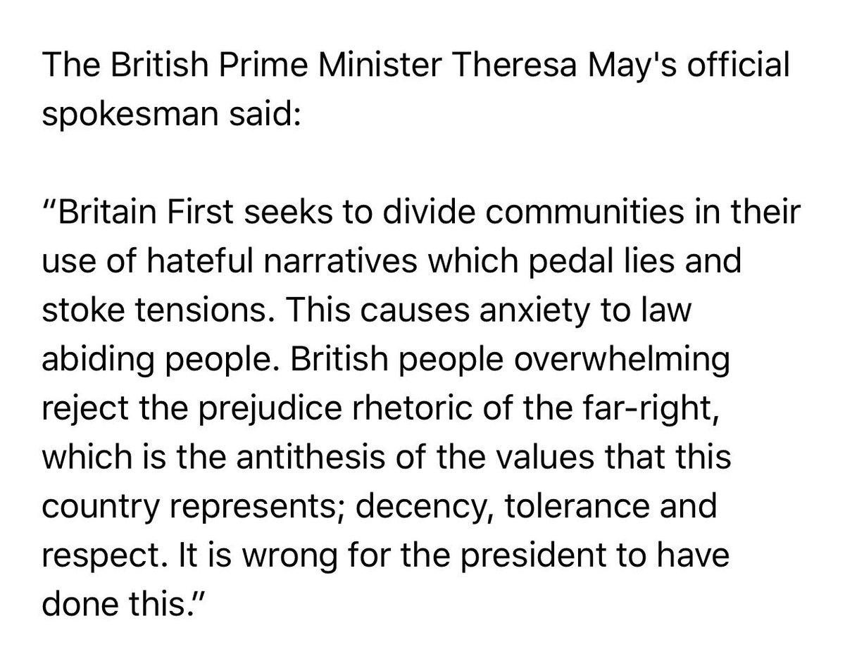 No small thing when Downing Street condemns the President of the United States