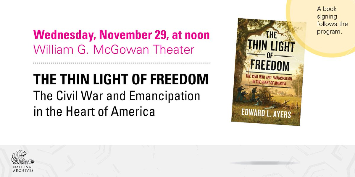 LIVE now! [WATCH] https://t.co/RNieTEtqFW. Historian @edward_l_ayers discusses his book 'The Thin Light of Freedom: The Civil War and Emancipation in the Heart of America.' #CivilWar