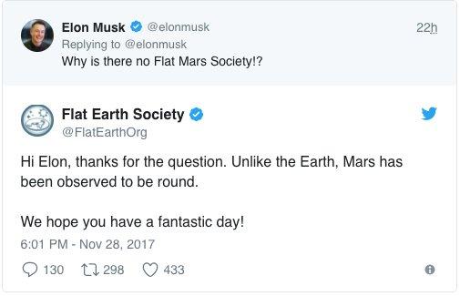 Oh snap. @ElonMusk vs @FlatEarthOrg  #WednesdayWisdom #Space #FlatEarth