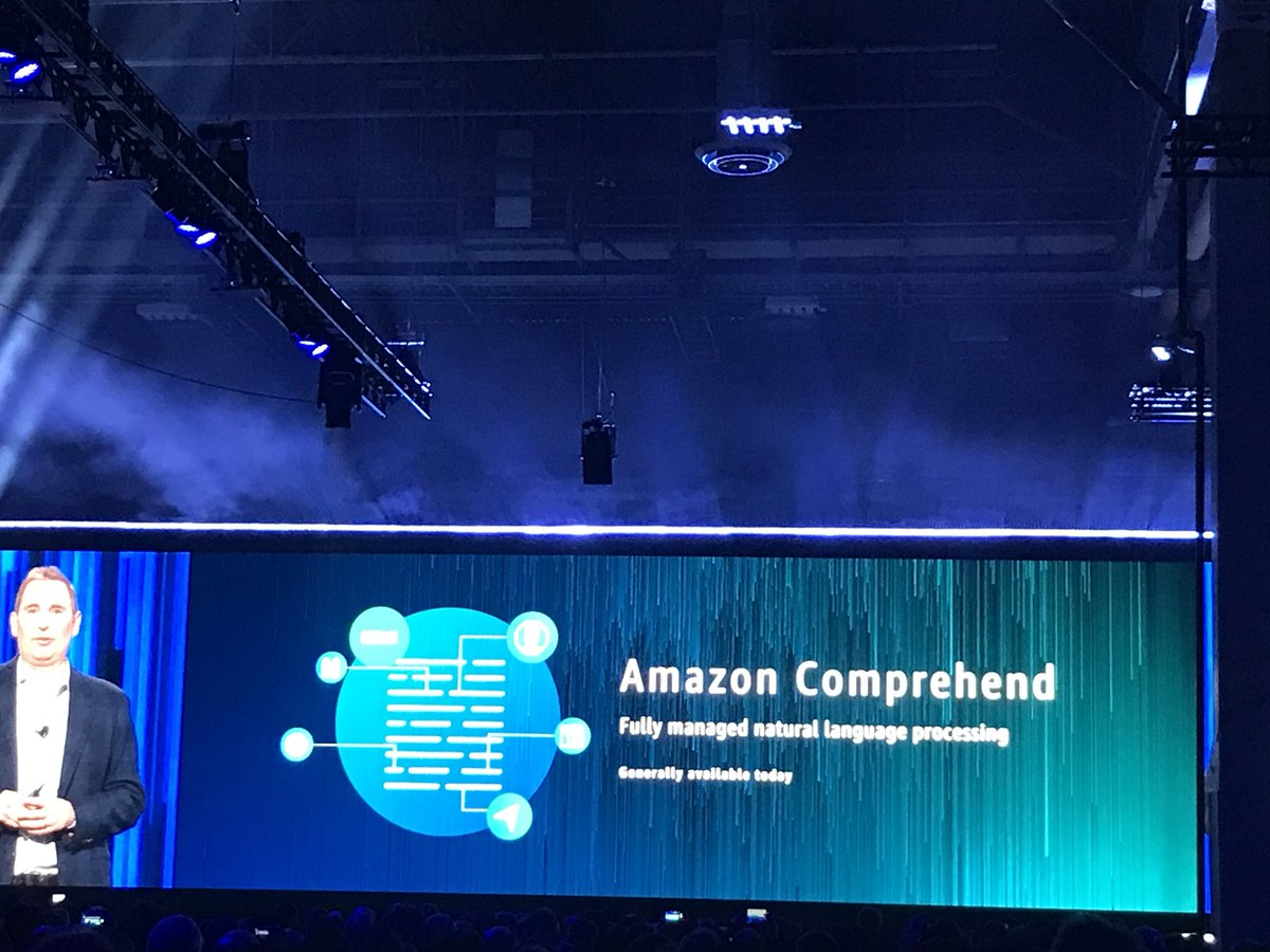 @awscloud Comprehend, a fully managed Natural Language Processing and Sentiment Analysis engine! #gamechanging @AWSreInvent #ReInvent #nlp #ArtificialIntelligence #topicmodeling <br>http://pic.twitter.com/OE13TAEuSI