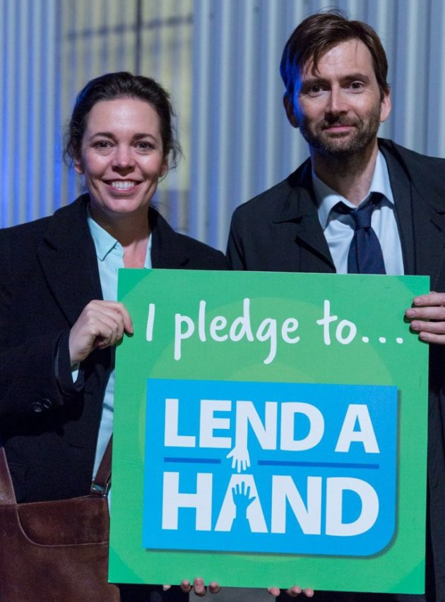 David Tennant and Olivia Colman supporting the Lend A Hand campaign