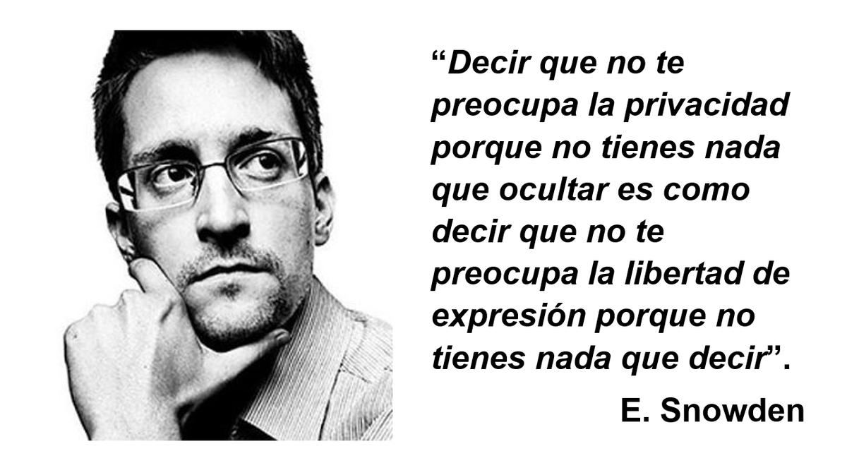 """""""Decir que no te preocupa la #privacidad porque no tienes nada que esconder es como decir que no te importa la libertad de expresión porque no tienes nada que decir."""" Edward Snowden #entornosocial17 https://t.co/9JAwbBnRYc"""