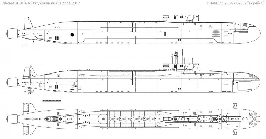 Submarino estratégico de mísseis balísticos movido a energia nuclear Knyaz Vladimir do Projeto 955A da classe Borei-A