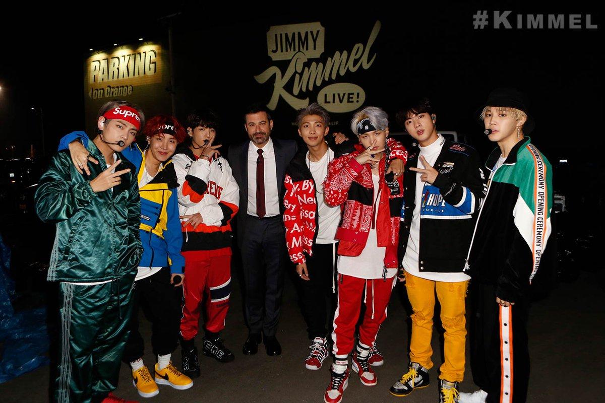 Watch @BTS_twt on @JimmyKimmel –Tonighton ABC! #KIMMEL