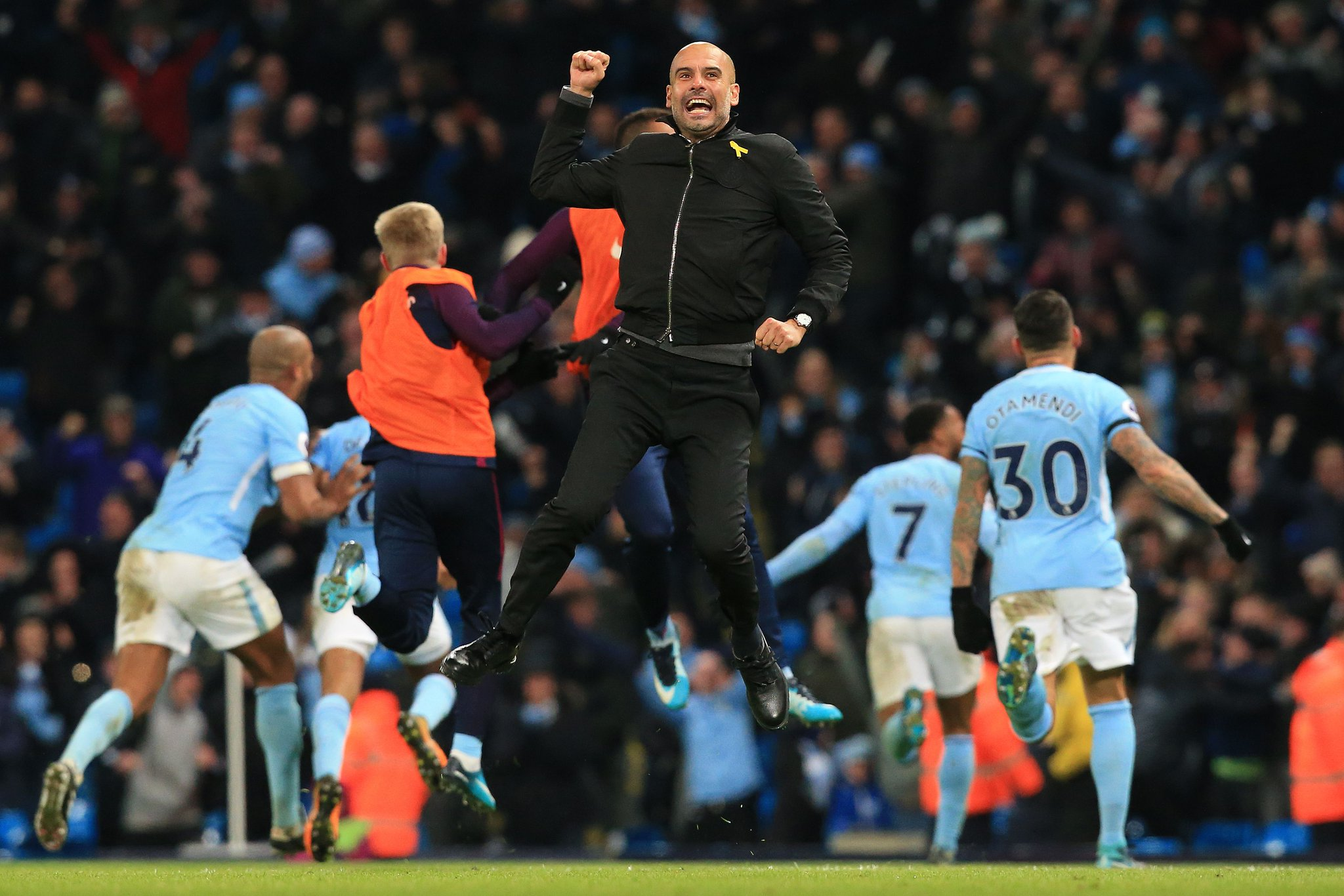 Image result for pep guardiola celebrate 2017/18
