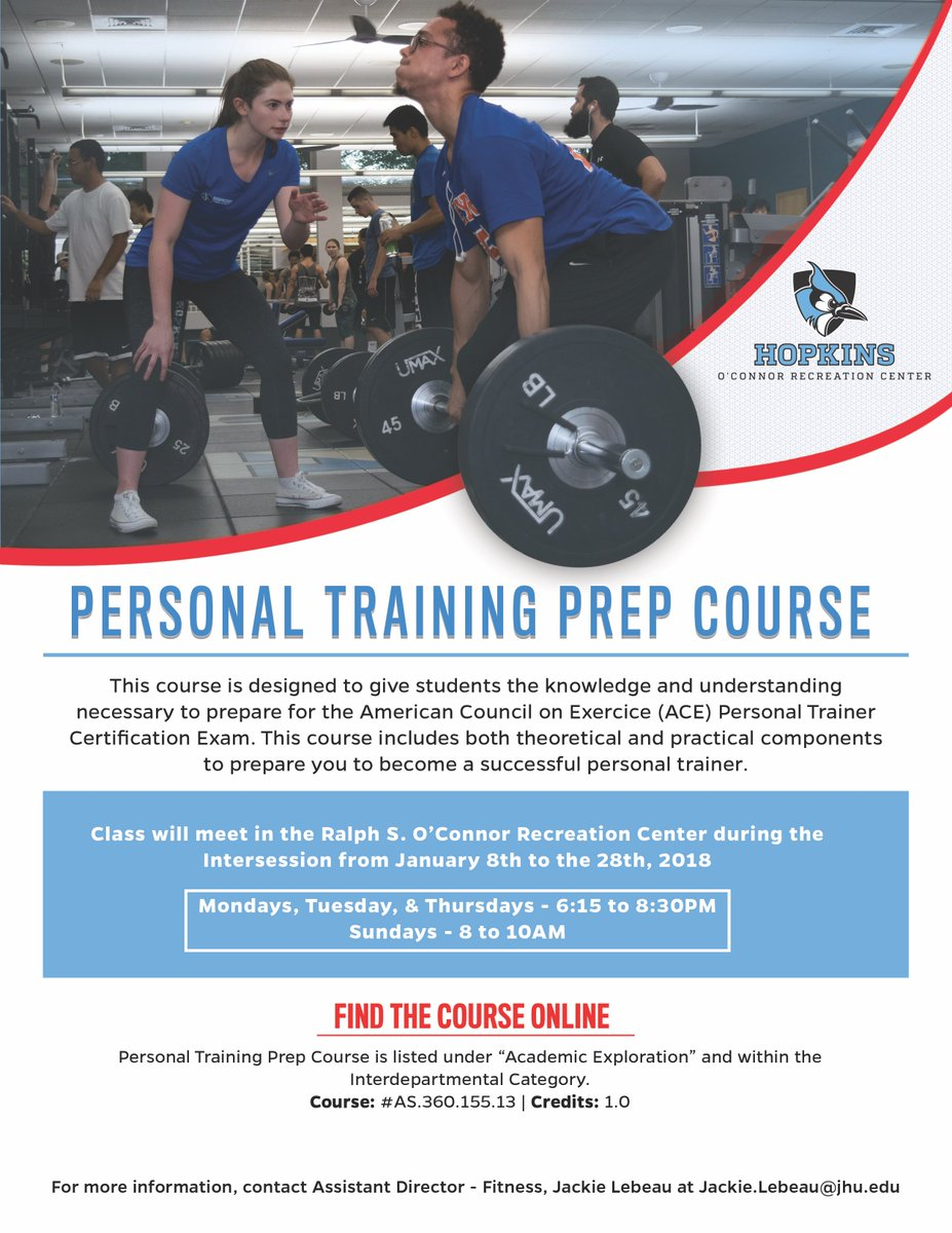 Jhu Recreation On Twitter Attention All Aspiring Personal Trainers