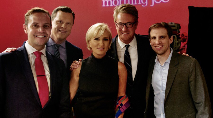 Joe Scarborough and Mika Brzezinski appear on their show 'Morning Joe' on  MSNBC after