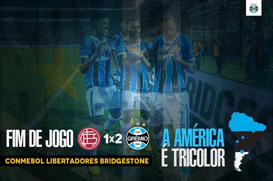 ACABOU!!!!!! Lanús 1x2 Grêmio A #Libertadores2017 É NOSSA! A AMÉRICA É NOSSA!  #SoyLocoPorTri #QueremosACopa #ReconquistaDaAmérica