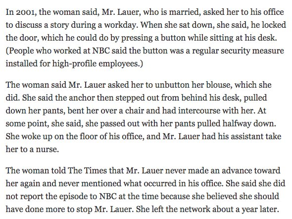 Chilling details from from a former TODAY producer who made a Lauer complaint to NBC today: https://t.co/XZsx76sZCn https://t.co/4igwUZRwCe