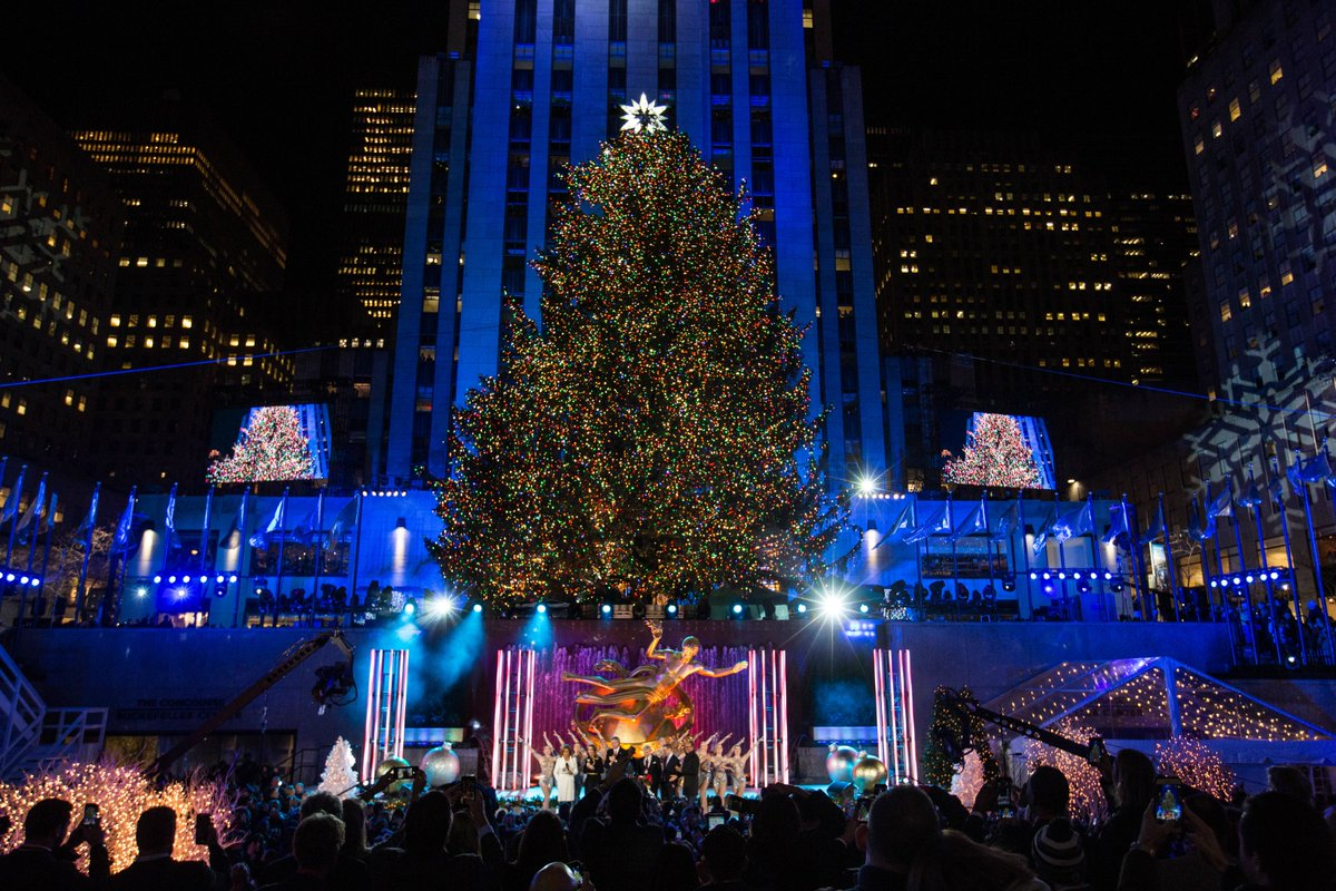 today on twitter the 2017 rockefeller center christmas tree is lit and it looks beautiful