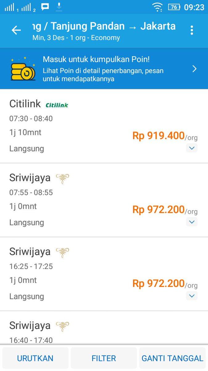 Harga Tiket Pesawat Jakarta Tanjung Pandan Guru