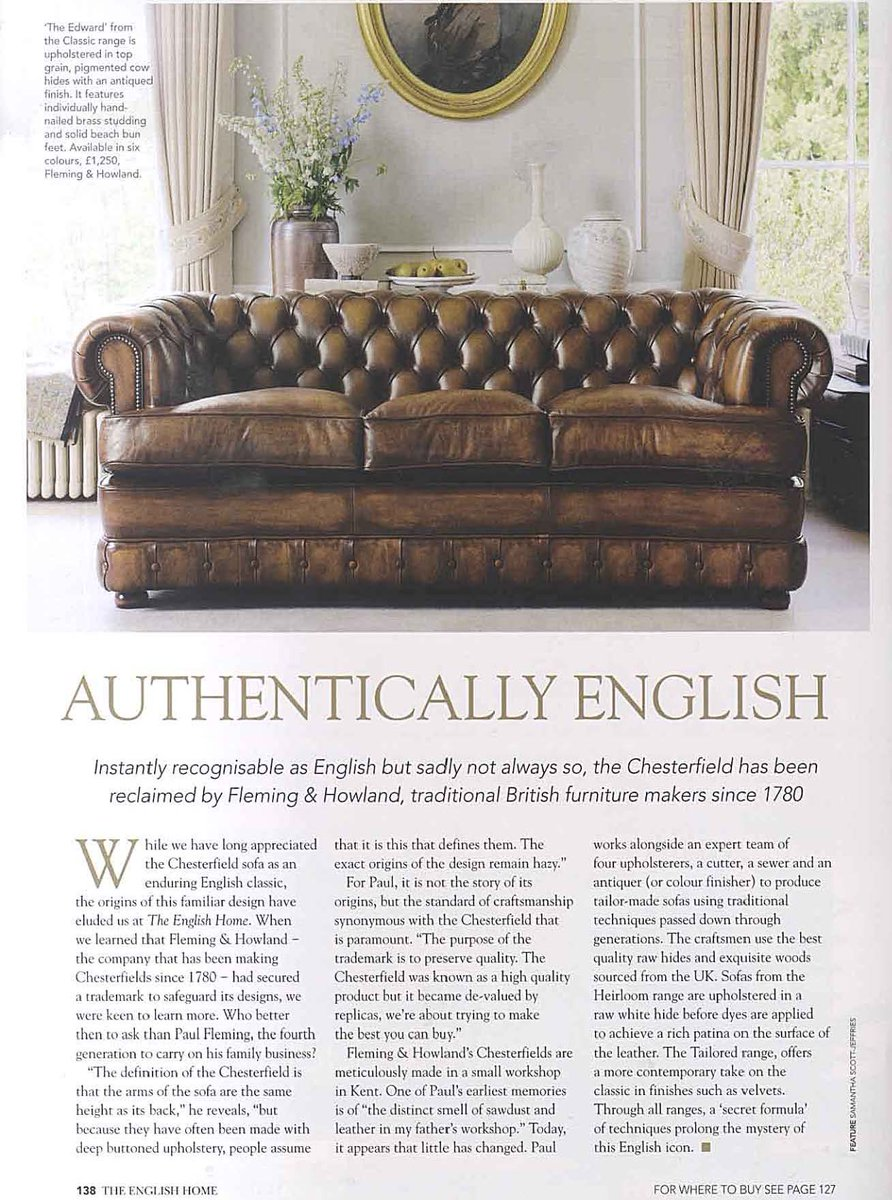 Fleming Howland On Twitter Throwbackthursday The English Home Article Featuring Edward Chesterfield Sofa British History