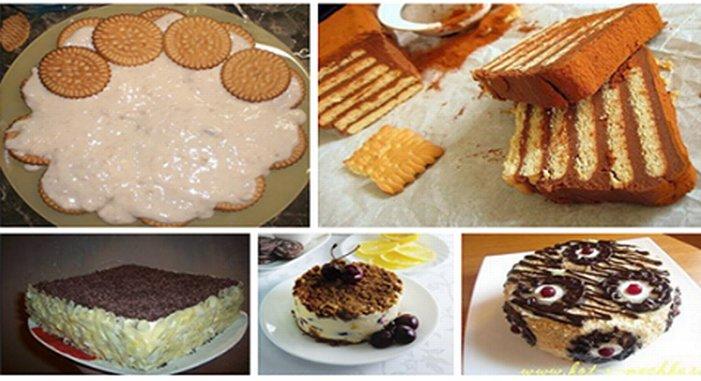 Тортики из печенья без выпечки рецепты