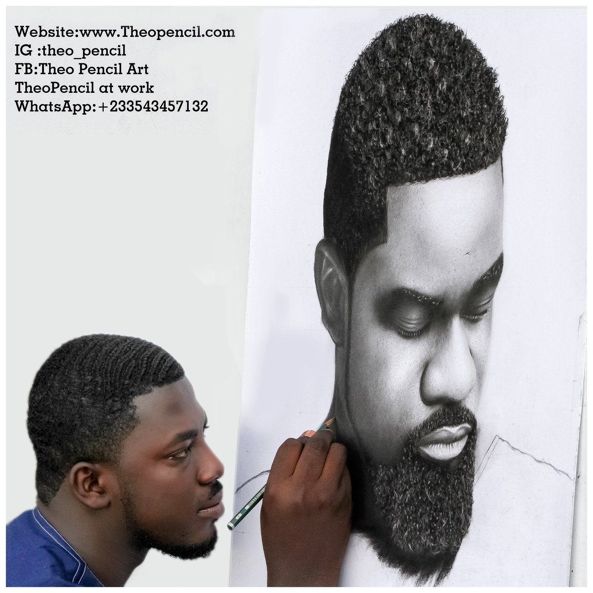 Theo pencil on twitter pencil drawing of sarkodie sarkodie by theopencil in progress whatsapp 233543457132
