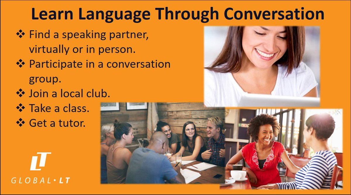 Global LT's Weekly Language Learning Tip  #languagetips  The best way to improve fluency and comprehension is to practice. Regularly hold conversations in your new language no matter what your proficiency level, and watch your skills take off! https://t.co/bVV61qfolm