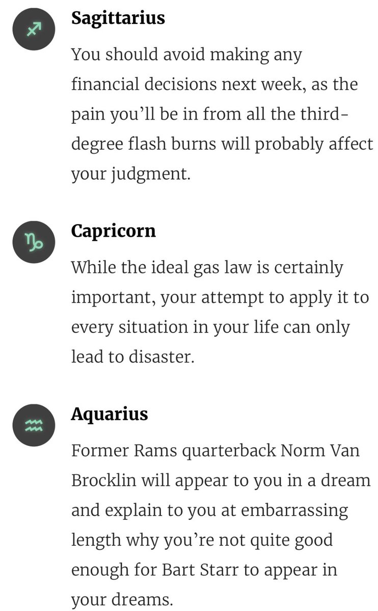 Re: 7/29 -- Horoscopes from The Onion