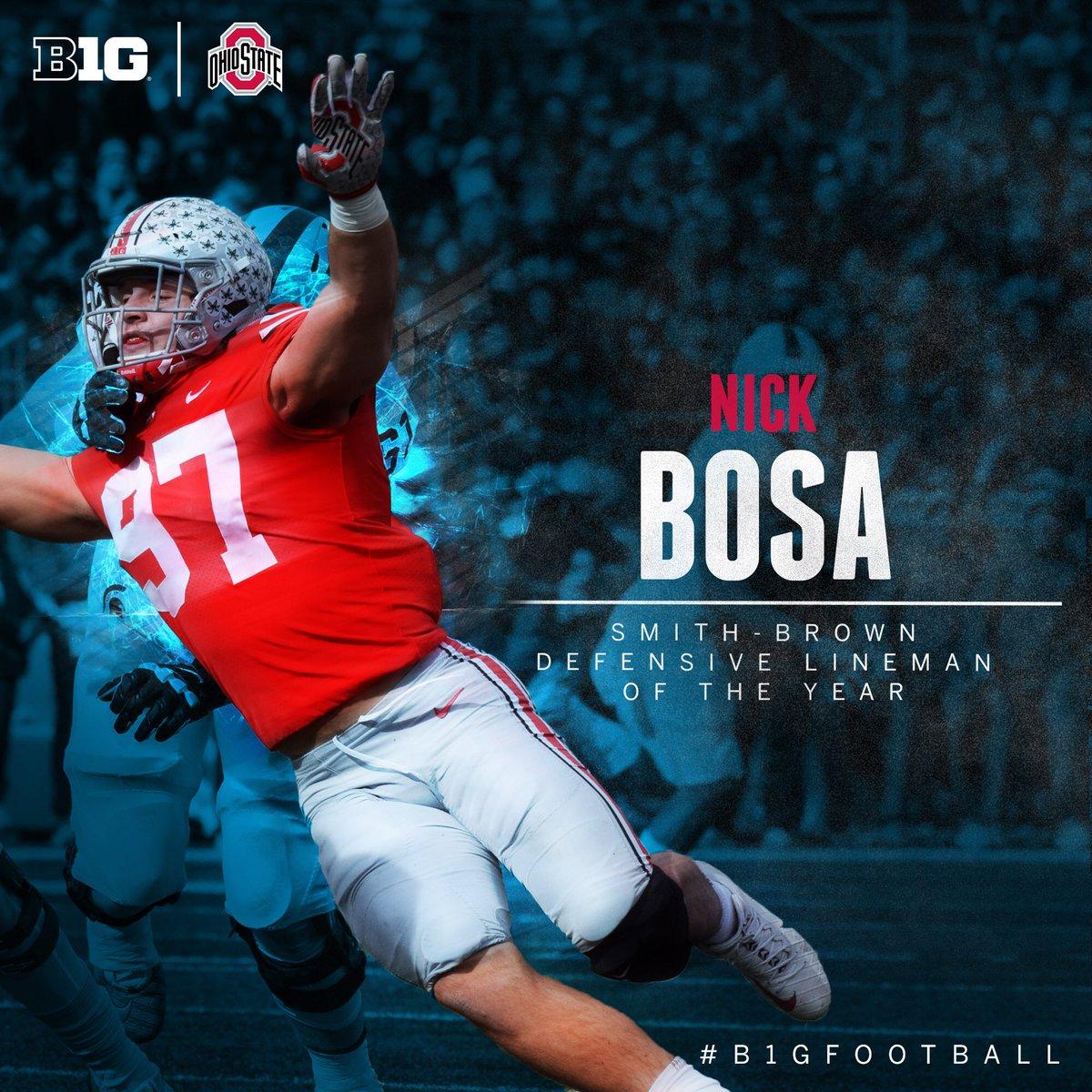 Nick Bosa of @OhioStateFB named 2017 #B1GFootball named 2017 #B1GFootball Smith-Brown Defensive Lineman of the Year. https://t.co/XcjCf67AfL