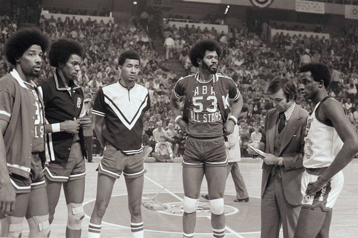 ABA's first dunk contest - Dr. J, Larry...