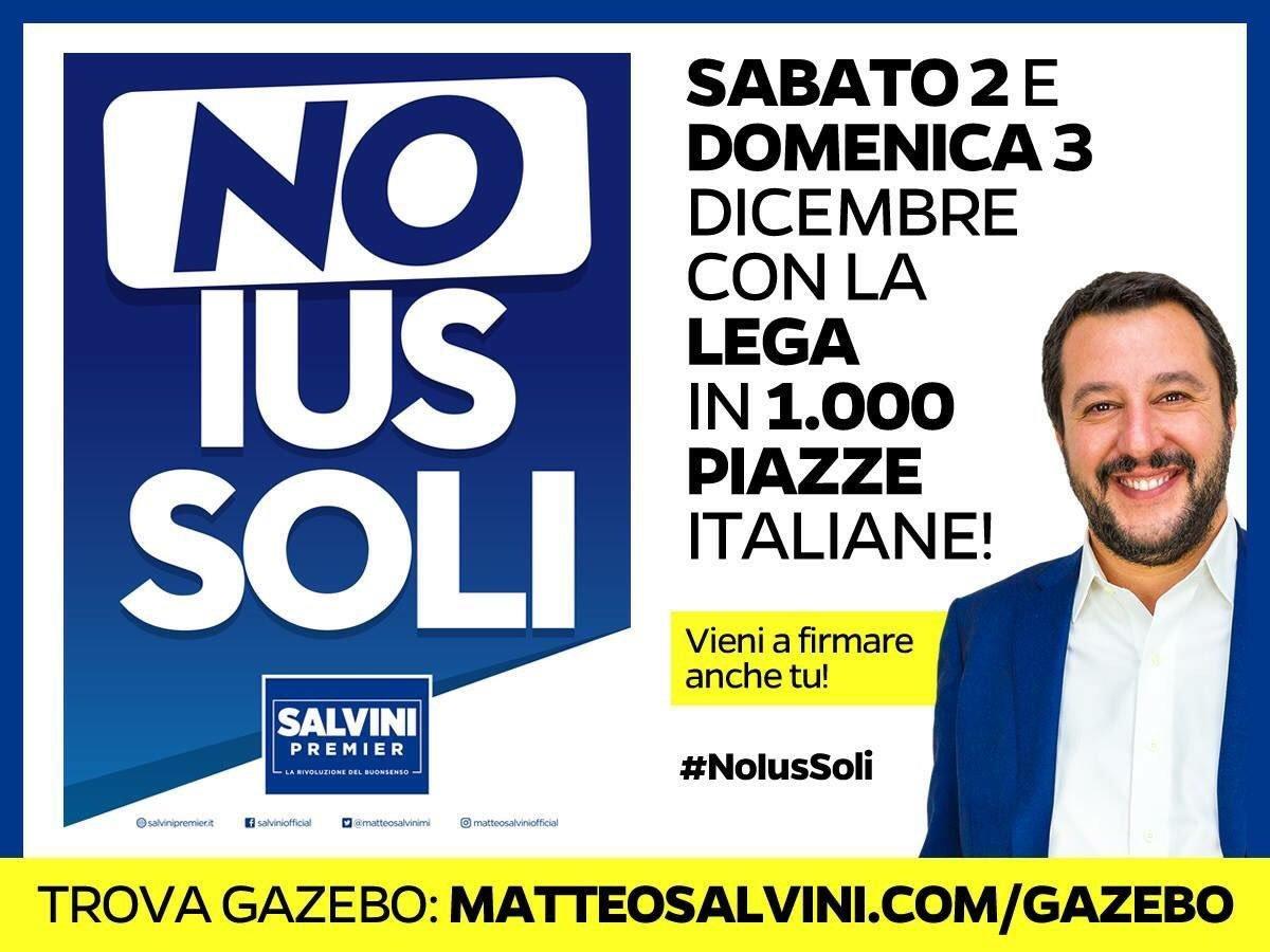 Mentre altri chiacchierano, la Lega sabato e domenica sarà in più di 1.000 piazze in tutta Italia per bloccare lo Ius Soli e lanciare le nostre proposte su lavoro e tasse. #NoIusSoli #menotassepiùlavoro Info: https://t.co/0GBzbH0aF9